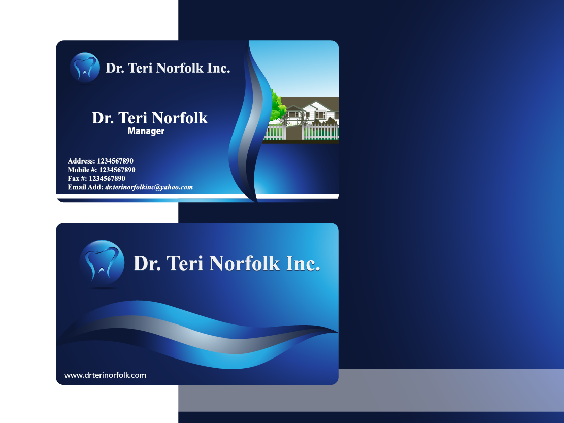 Business Card Design by Private User - Entry No. 67 in the Business Card Design Contest Unique Business Card Design Wanted for Dr. Teri Norfolk Inc..