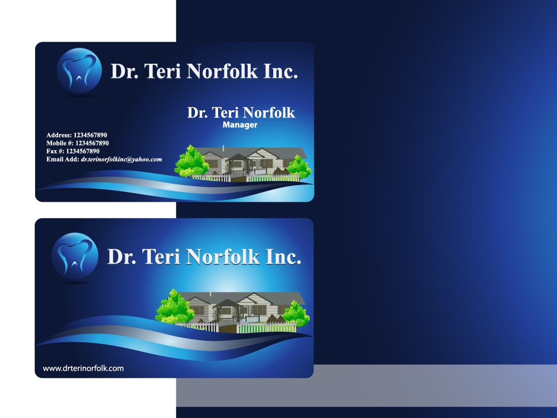 Business Card Design by Private User - Entry No. 74 in the Business Card Design Contest Unique Business Card Design Wanted for Dr. Teri Norfolk Inc..