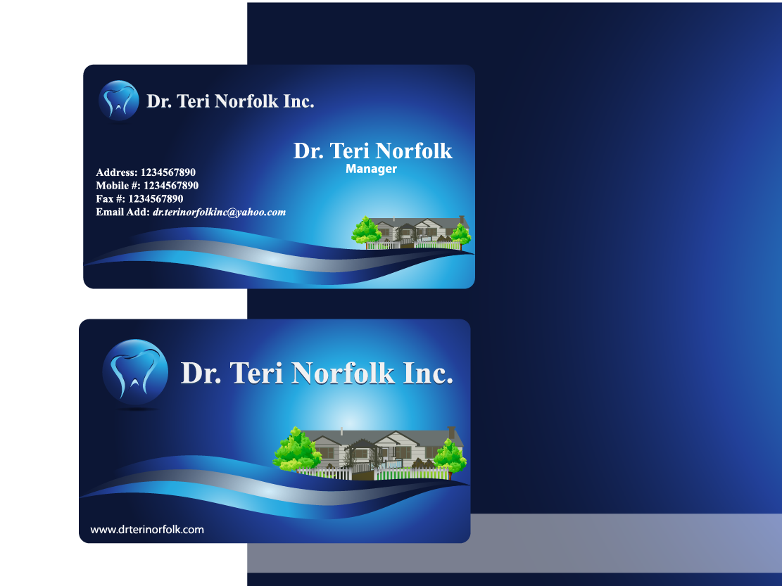 Business Card Design by Private User - Entry No. 75 in the Business Card Design Contest Unique Business Card Design Wanted for Dr. Teri Norfolk Inc..