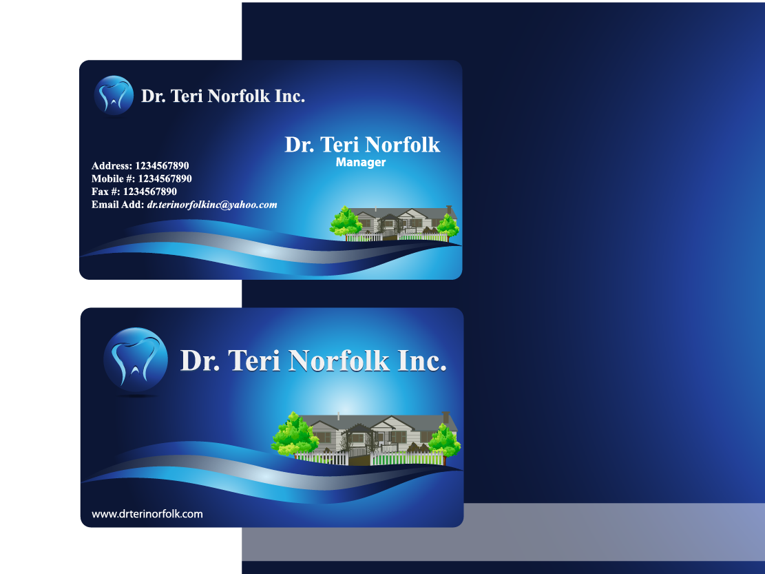 Business Card Design by Private User - Entry No. 76 in the Business Card Design Contest Unique Business Card Design Wanted for Dr. Teri Norfolk Inc..