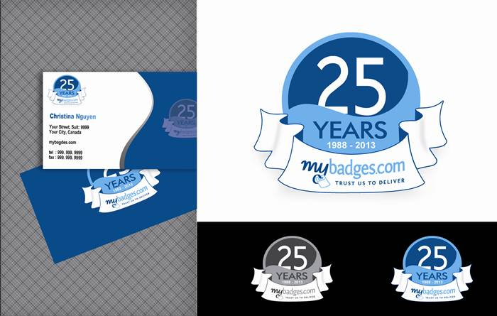 Logo Design by Respati Himawan - Entry No. 75 in the Logo Design Contest 25th Anniversary Logo Design Wanted for MyBadges.com.