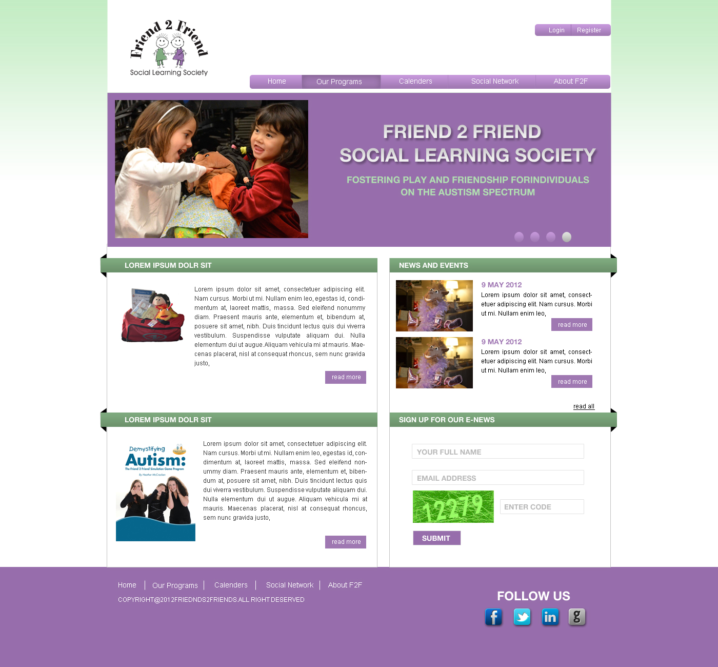 Web Page Design by Private User - Entry No. 10 in the Web Page Design Contest Web Page Design Needed for Exciting New Company Friend 2 Friend Social Learning Society.