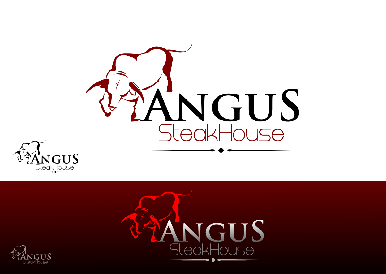 Logo Design by whoosef - Entry No. 95 in the Logo Design Contest Imaginative Custom Design for Angus Steakhouse.