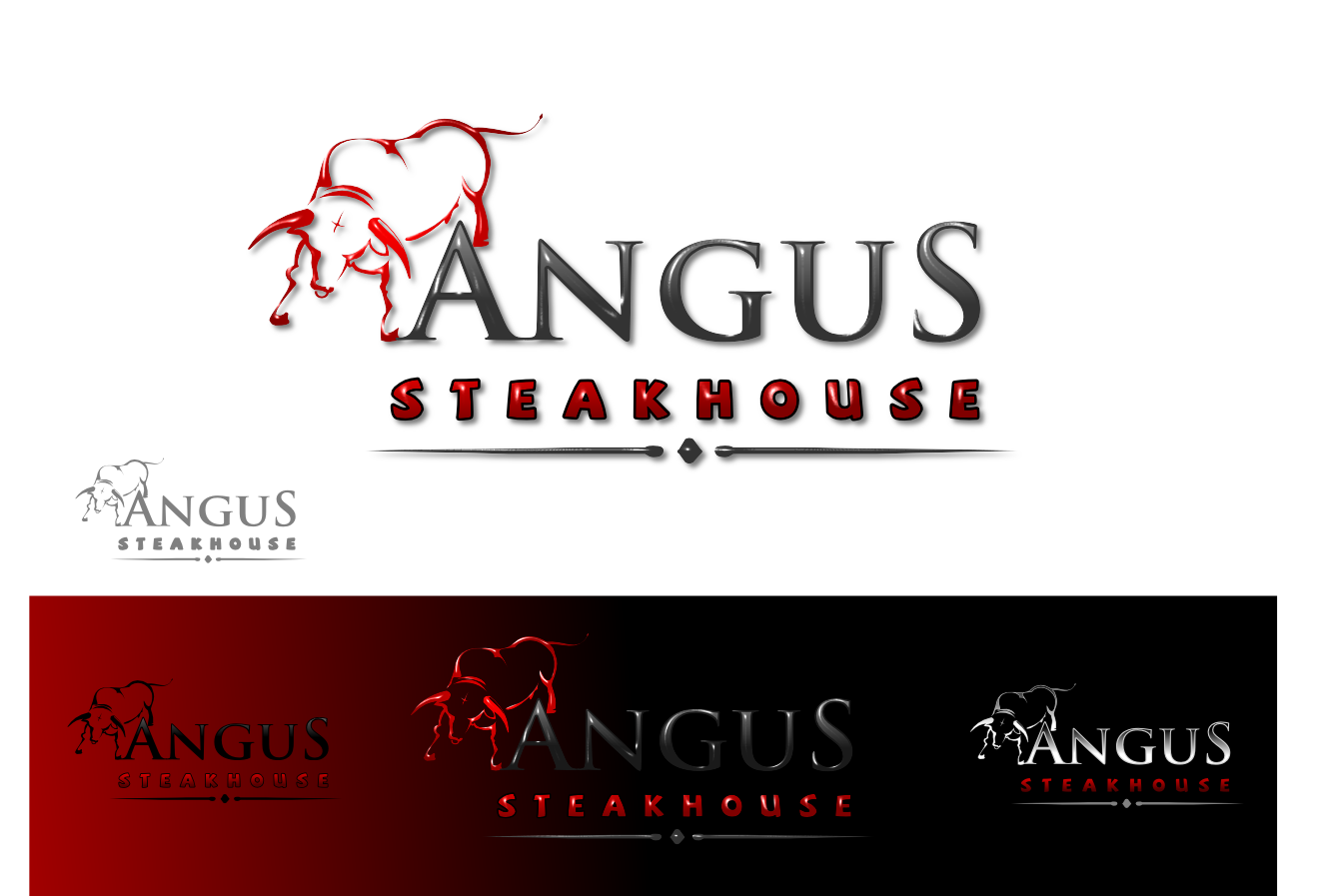 Logo Design by whoosef - Entry No. 107 in the Logo Design Contest Imaginative Custom Design for Angus Steakhouse.