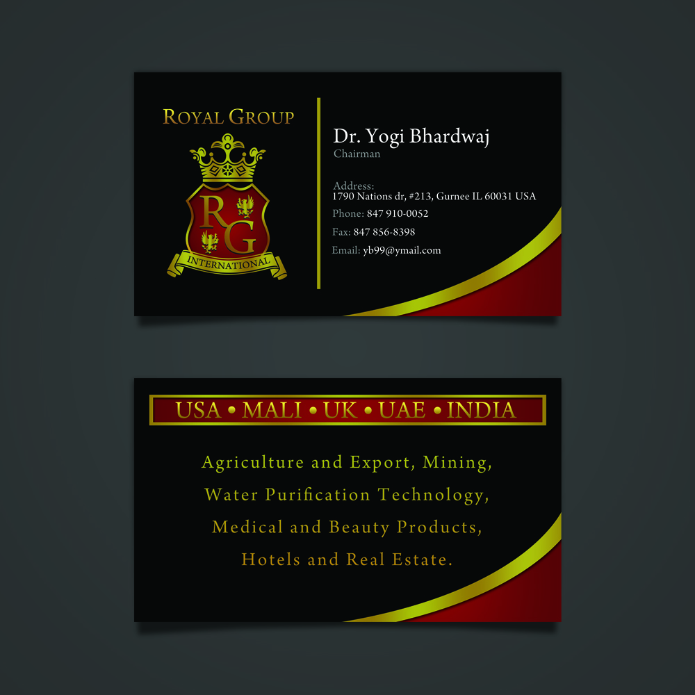 Business Card Design by omARTist - Entry No. 7 in the Business Card Design Contest Royal Group International Business Card Design.