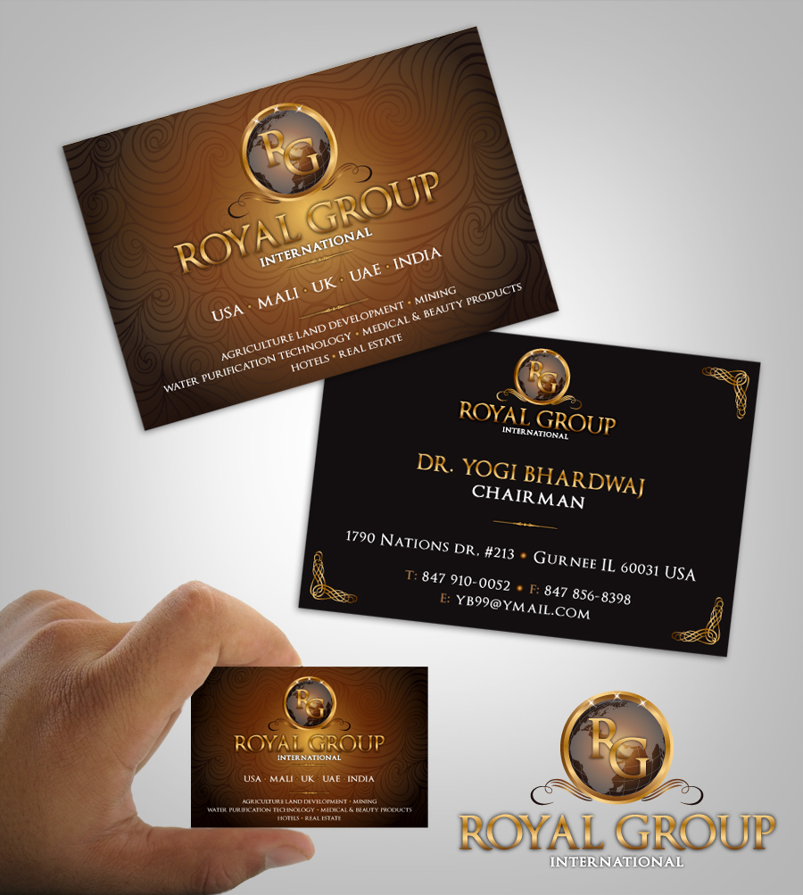 Business Card Design by nausigeo - Entry No. 14 in the Business Card Design Contest Royal Group International Business Card Design.
