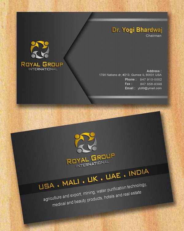 Business Card Design by Respati Himawan - Entry No. 20 in the Business Card Design Contest Royal Group International Business Card Design.