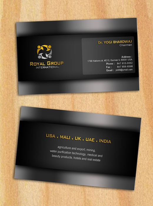 Business Card Design by Respati Himawan - Entry No. 22 in the Business Card Design Contest Royal Group International Business Card Design.