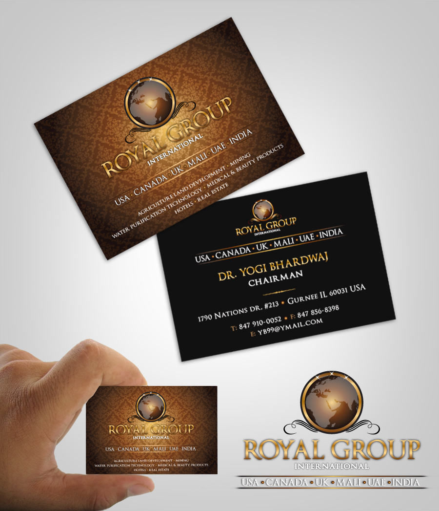 Business Card Design by nausigeo - Entry No. 26 in the Business Card Design Contest Royal Group International Business Card Design.