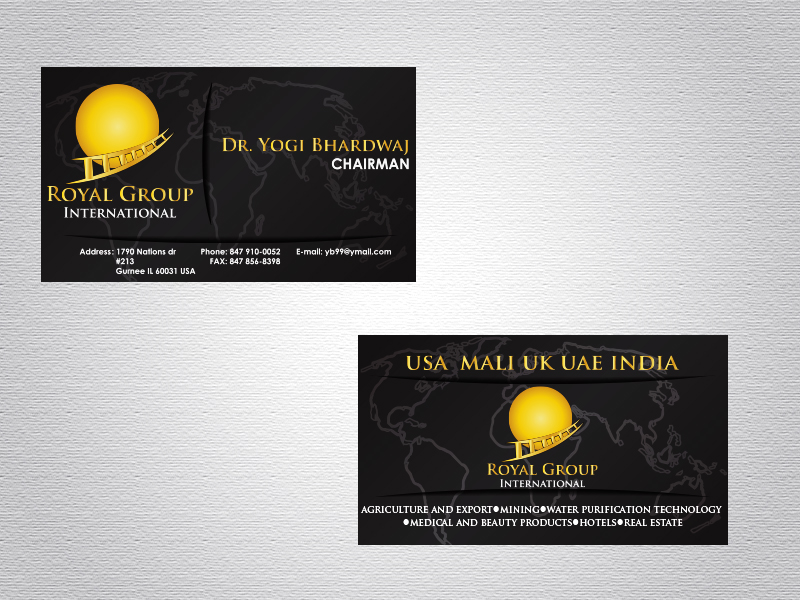 Business Card Design by Mythos Designs - Entry No. 29 in the Business Card Design Contest Royal Group International Business Card Design.