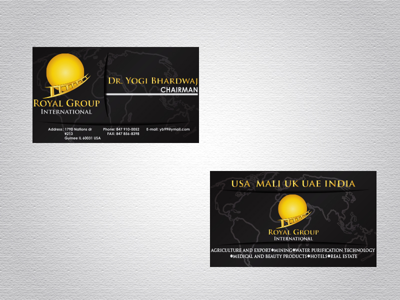 Business Card Design by Mythos Designs - Entry No. 30 in the Business Card Design Contest Royal Group International Business Card Design.