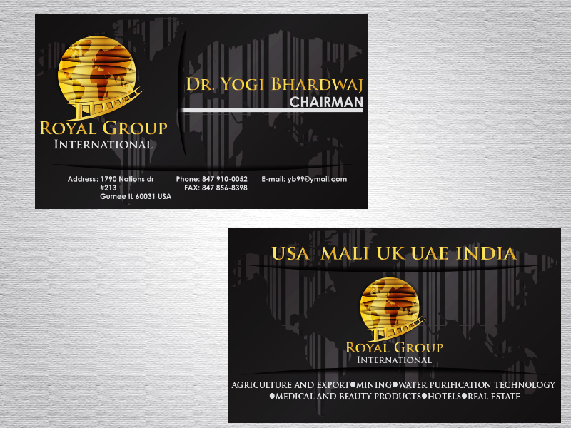 Business Card Design by Mythos Designs - Entry No. 35 in the Business Card Design Contest Royal Group International Business Card Design.