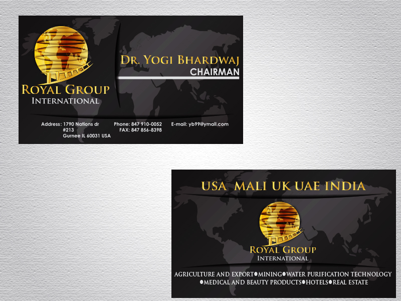 Business Card Design by Mythos Designs - Entry No. 36 in the Business Card Design Contest Royal Group International Business Card Design.