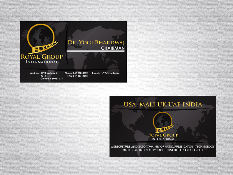 Business Card Design by Mythos Designs - Entry No. 37 in the Business Card Design Contest Royal Group International Business Card Design.