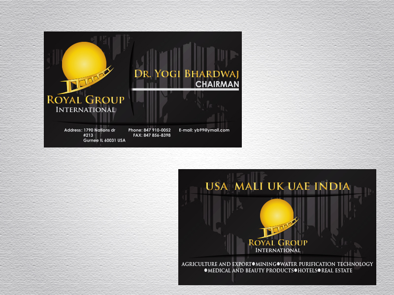 Business Card Design by Mythos Designs - Entry No. 38 in the Business Card Design Contest Royal Group International Business Card Design.