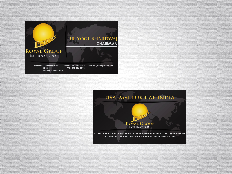Business Card Design by Mythos Designs - Entry No. 39 in the Business Card Design Contest Royal Group International Business Card Design.