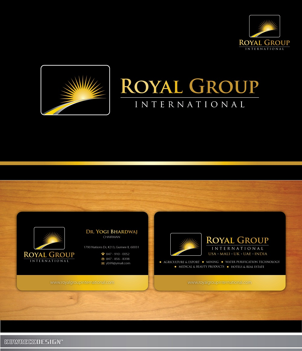 Business Card Design by kowreck - Entry No. 42 in the Business Card Design Contest Royal Group International Business Card Design.