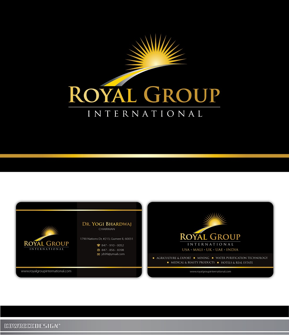 Business Card Design by kowreck - Entry No. 43 in the Business Card Design Contest Royal Group International Business Card Design.