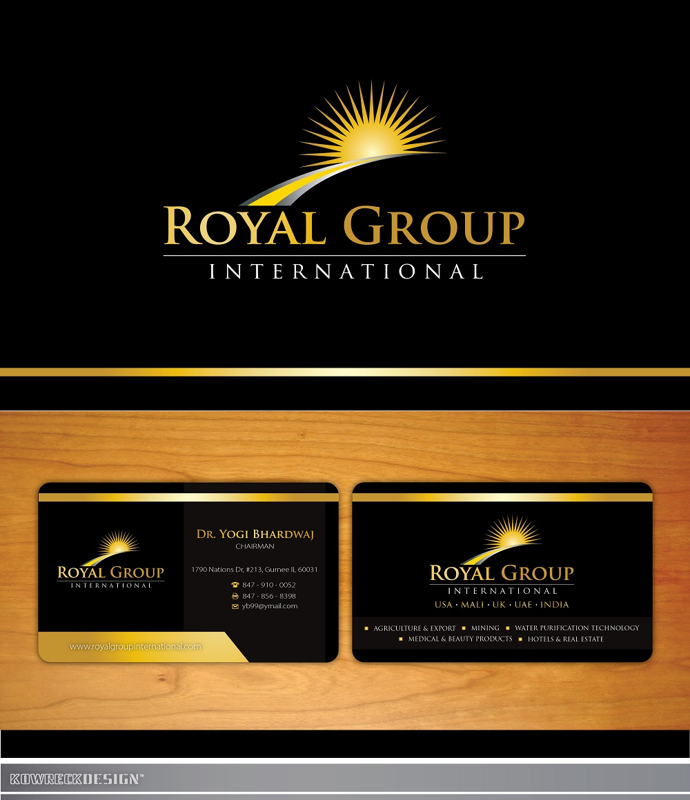 Business Card Design by kowreck - Entry No. 44 in the Business Card Design Contest Royal Group International Business Card Design.