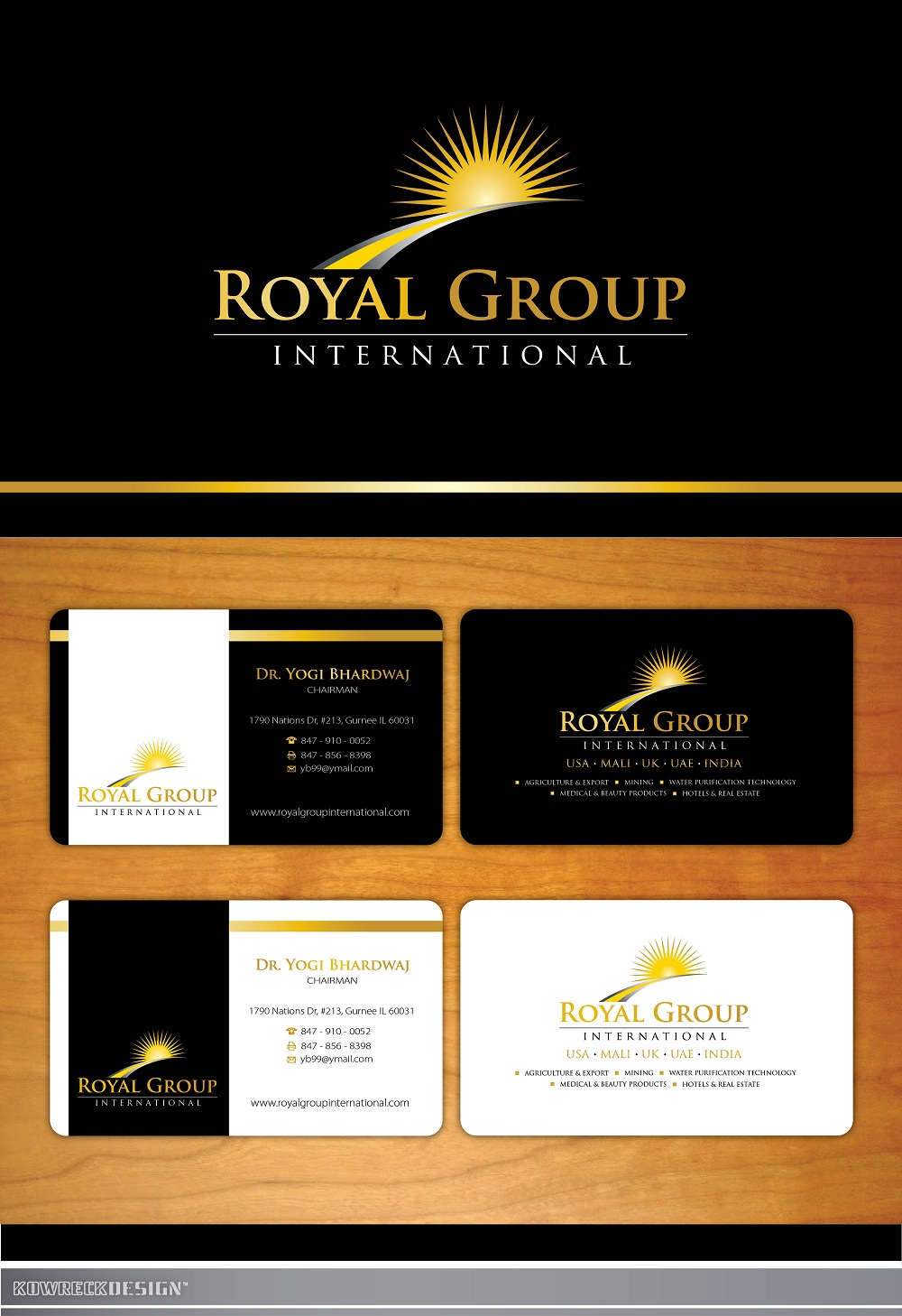 Business Card Design by kowreck - Entry No. 45 in the Business Card Design Contest Royal Group International Business Card Design.