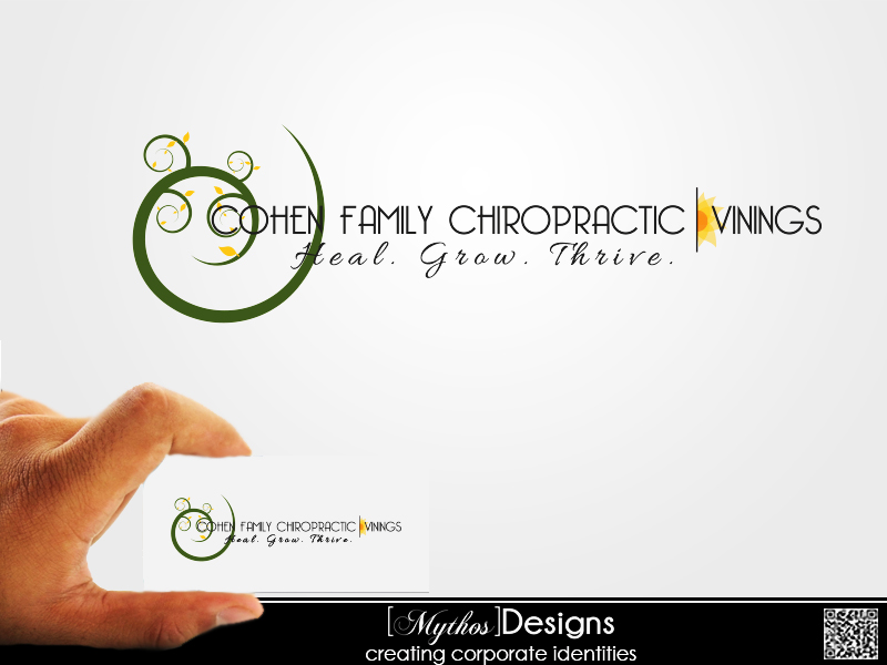 Logo Design by Mythos Designs - Entry No. 24 in the Logo Design Contest Unique Logo Design Wanted for Cohen Family Chiropractic.