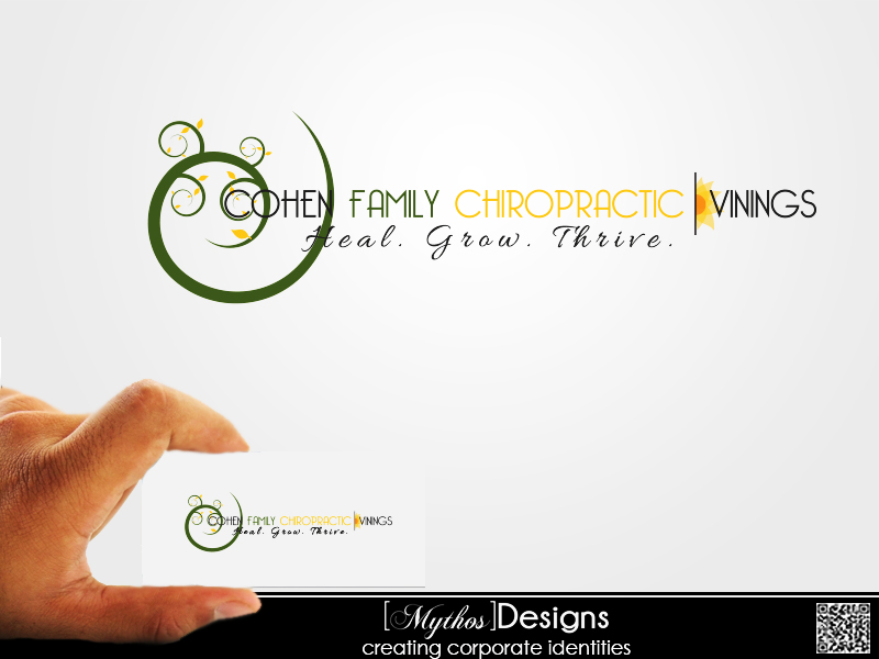 Logo Design by Mythos Designs - Entry No. 25 in the Logo Design Contest Unique Logo Design Wanted for Cohen Family Chiropractic.