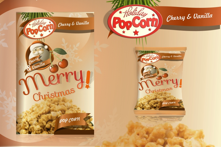 Packaging Design by Private User - Entry No. 3 in the Packaging Design Contest Imaginative Packaging Design for Holiday Popcorn.