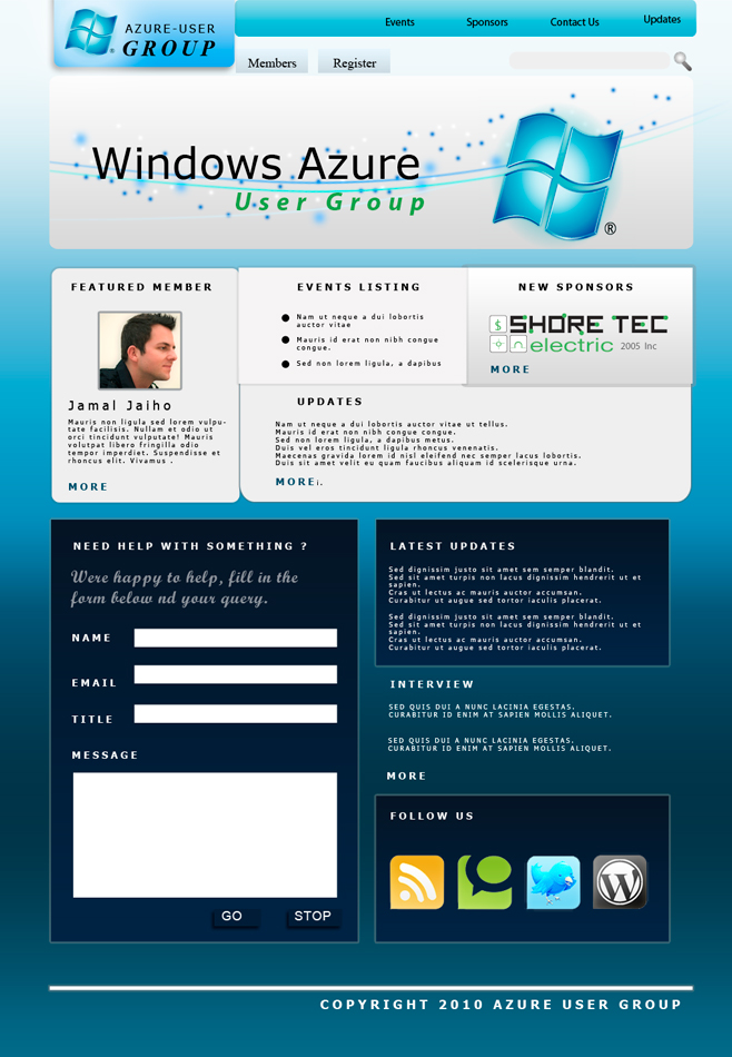 Web Page Design by Brian  Lu - Entry No. 4 in the Web Page Design Contest Windows Azure (Cloud Computing) User Group Website.
