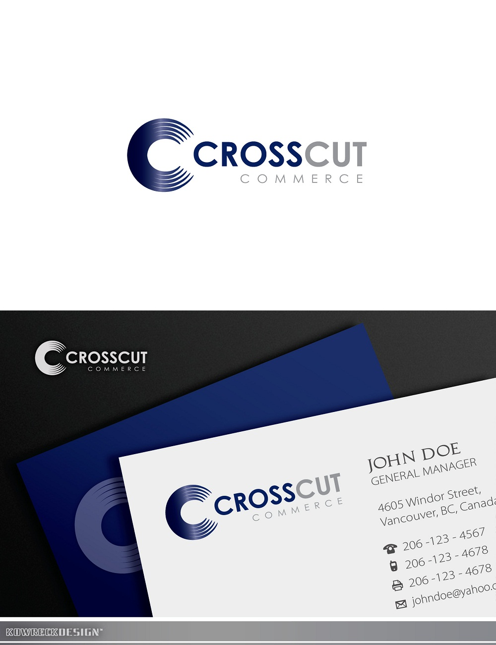Logo Design by kowreck - Entry No. 9 in the Logo Design Contest New Logo Design for CrossCut Commerce.