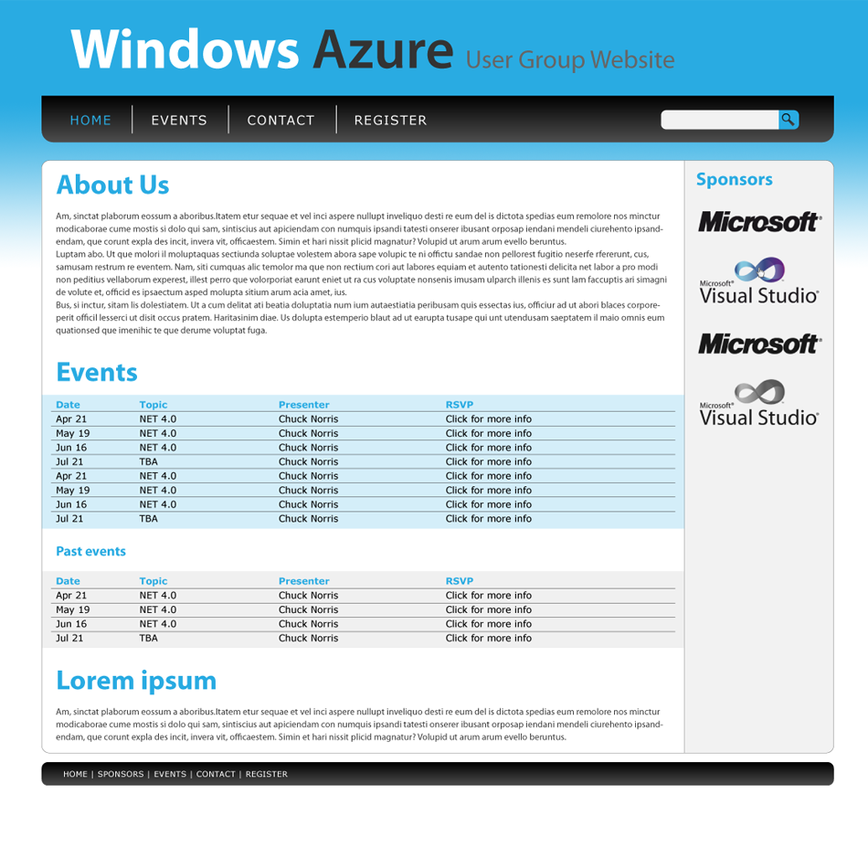 Web Page Design by prask - Entry No. 5 in the Web Page Design Contest Windows Azure (Cloud Computing) User Group Website.
