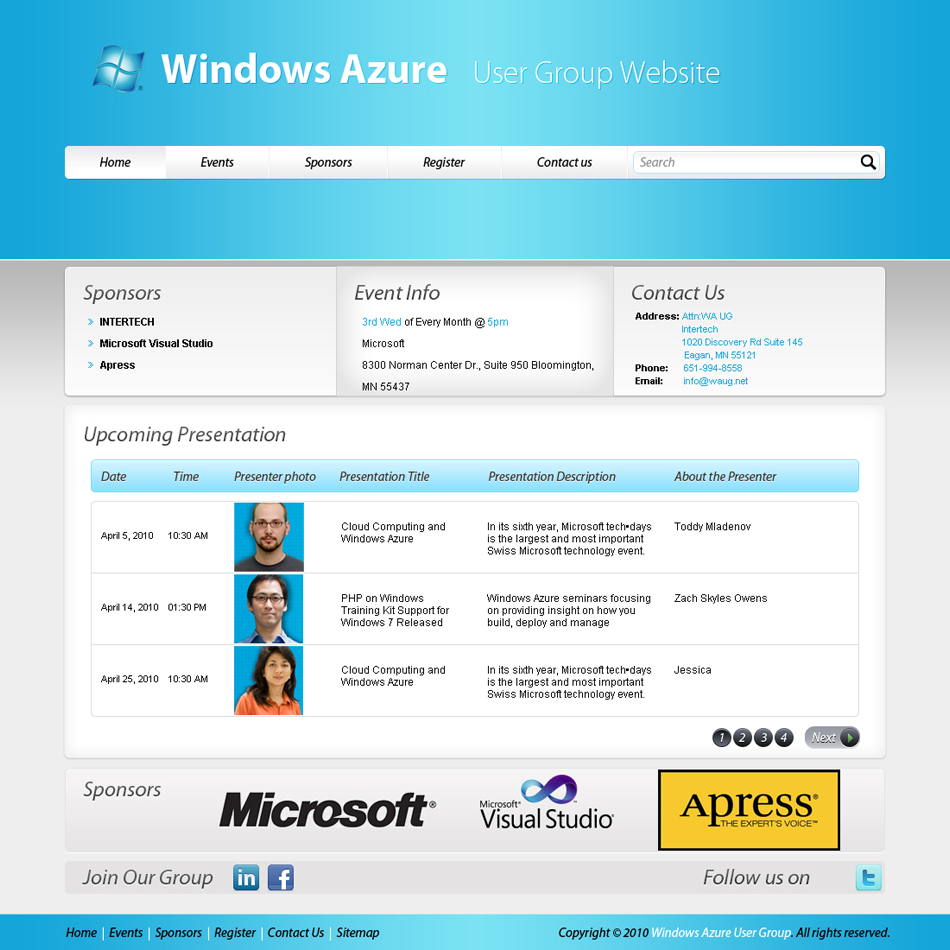 Web Page Design by 3dking - Entry No. 17 in the Web Page Design Contest Windows Azure (Cloud Computing) User Group Website.