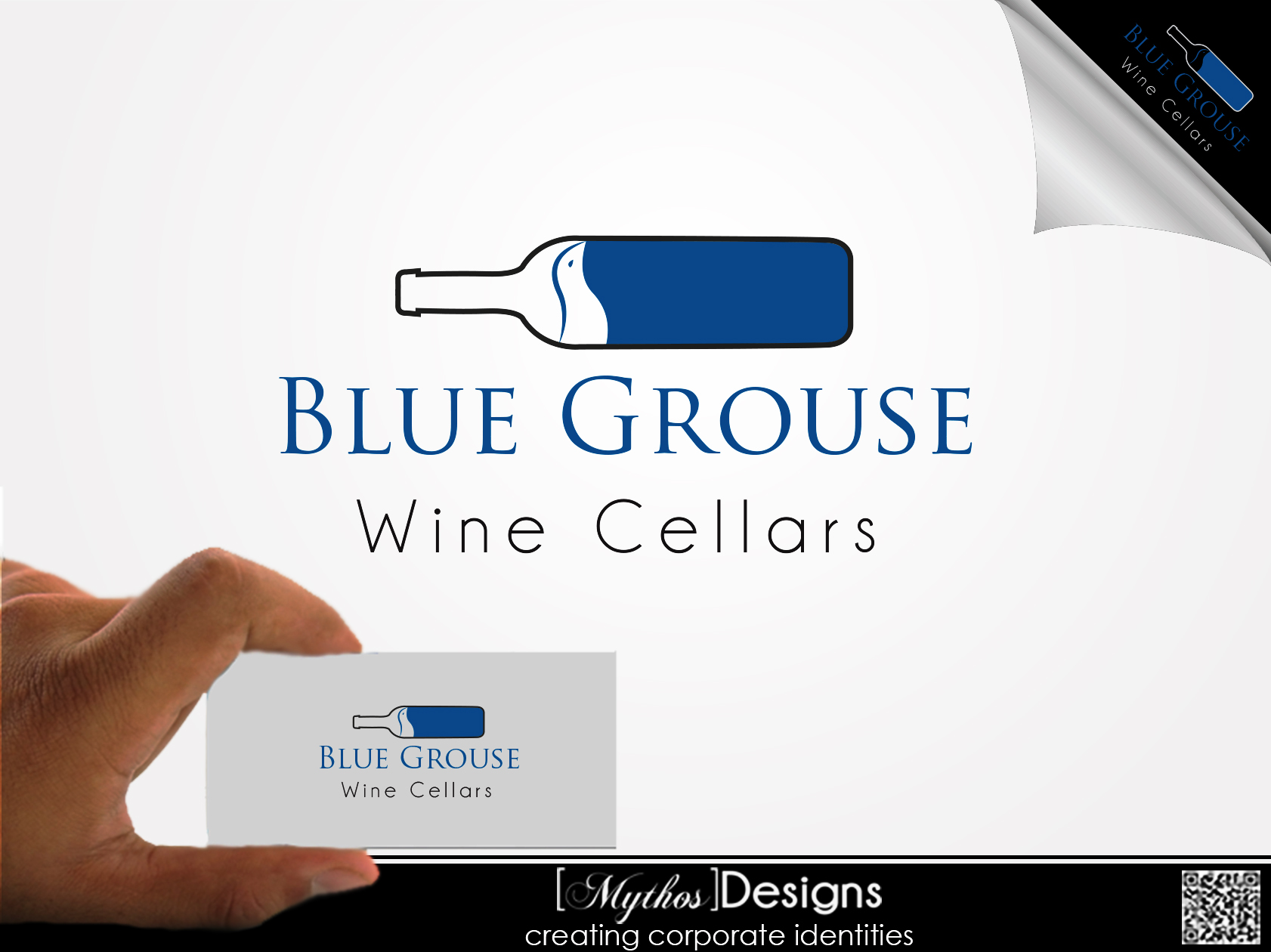Logo Design by Mythos Designs - Entry No. 8 in the Logo Design Contest Creative Logo Design for Blue Grouse Wine Cellars.
