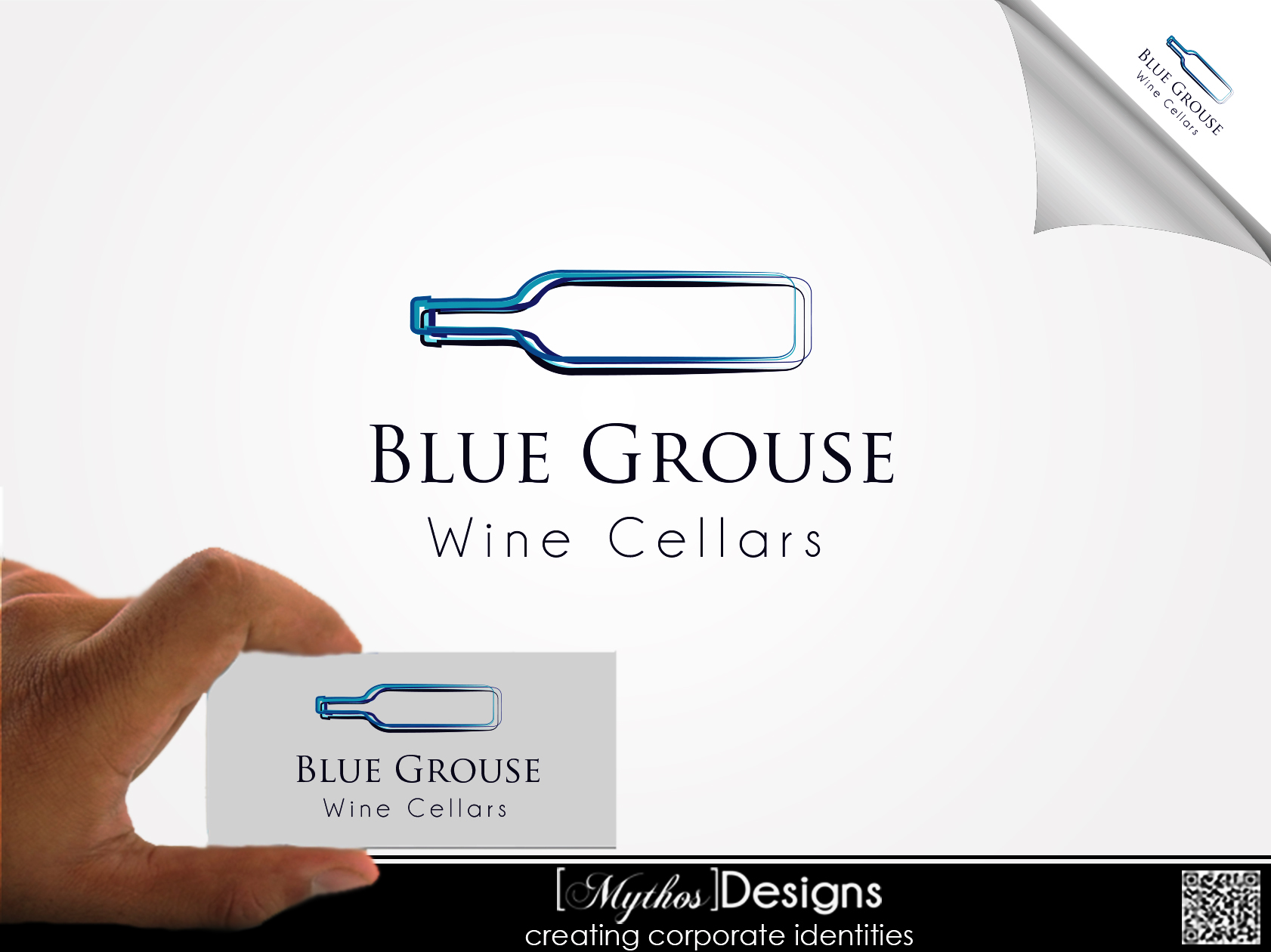 Logo Design by Mythos Designs - Entry No. 29 in the Logo Design Contest Creative Logo Design for Blue Grouse Wine Cellars.