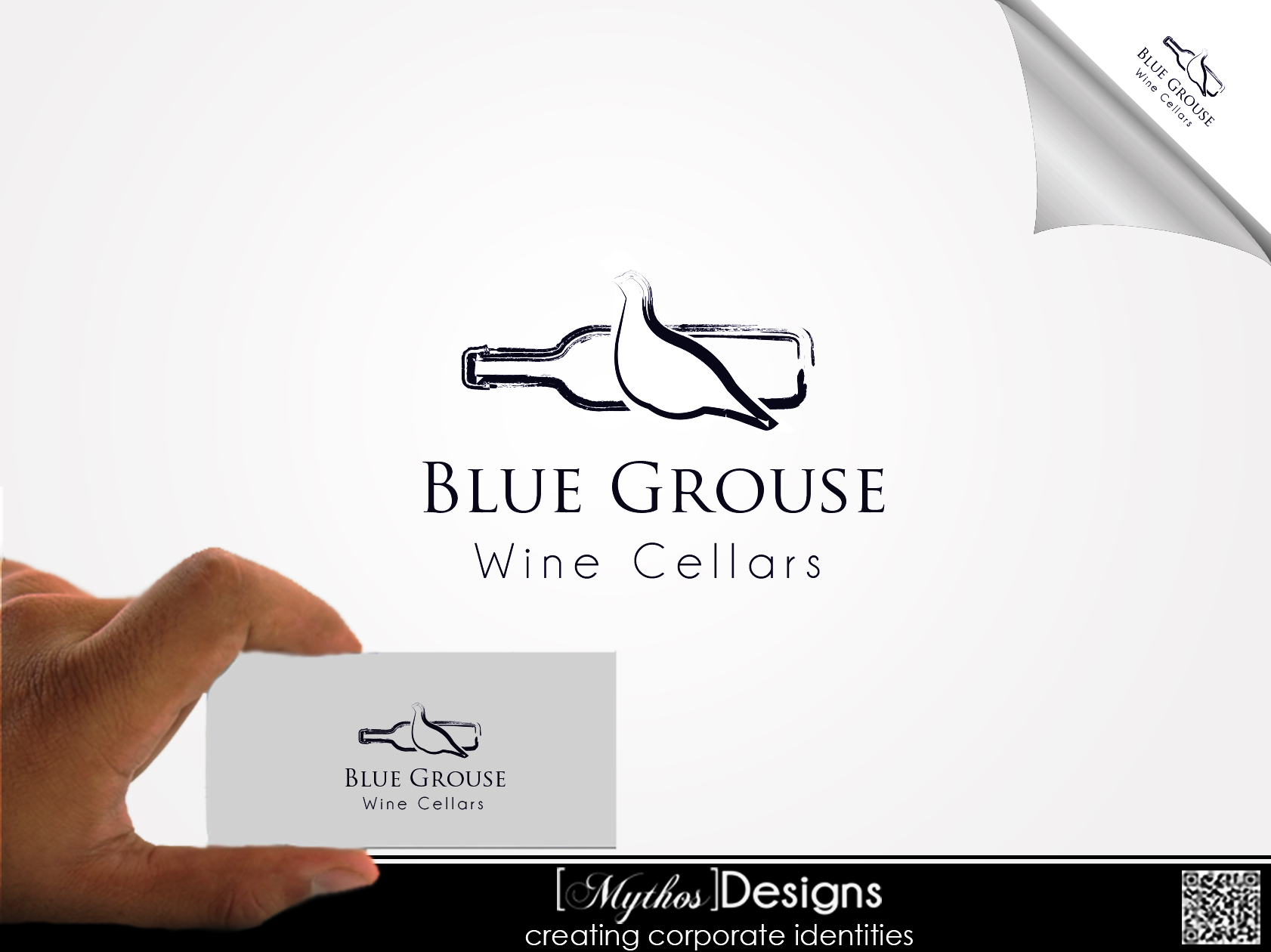 Logo Design by Mythos Designs - Entry No. 35 in the Logo Design Contest Creative Logo Design for Blue Grouse Wine Cellars.