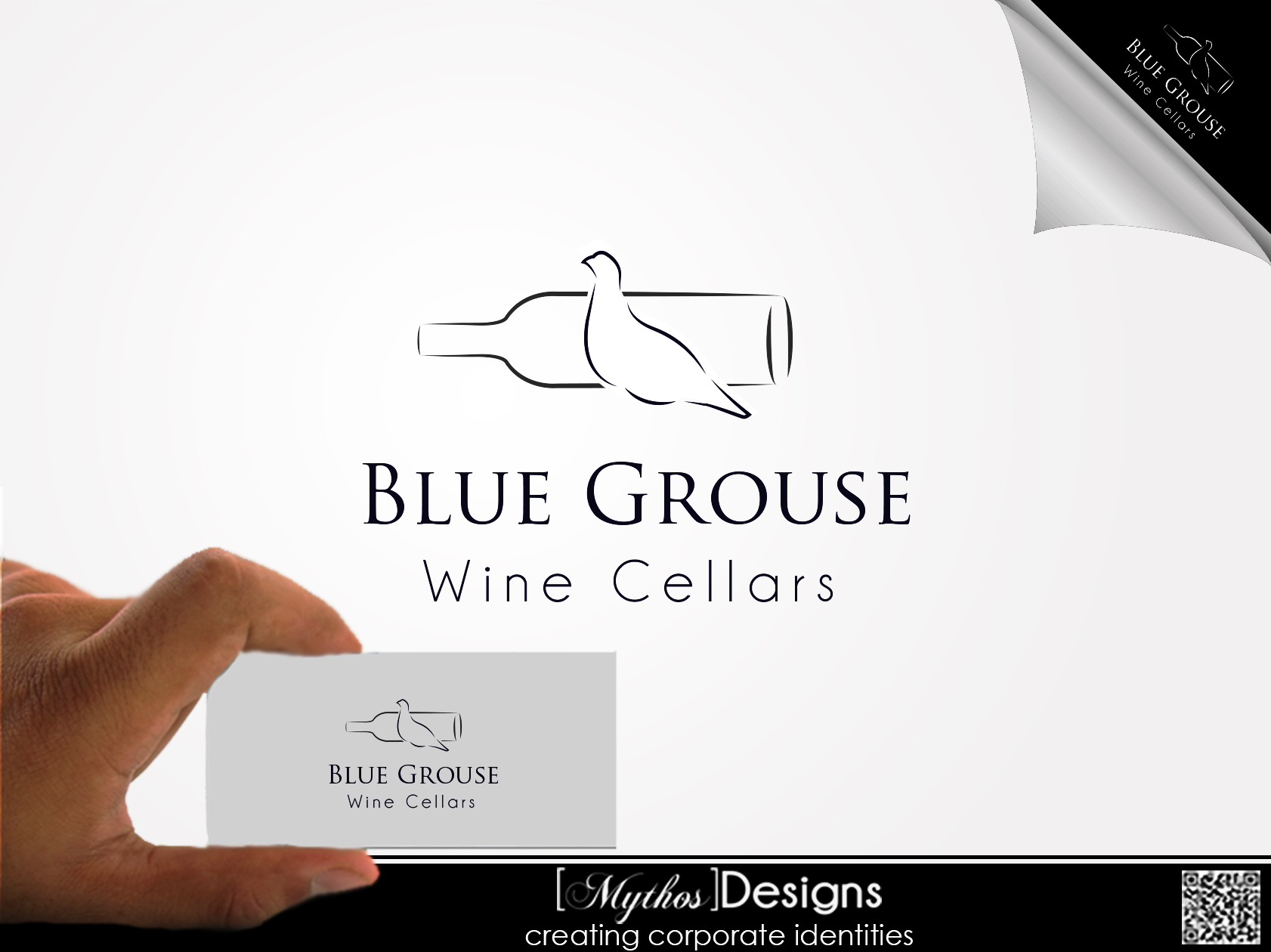Logo Design by Mythos Designs - Entry No. 36 in the Logo Design Contest Creative Logo Design for Blue Grouse Wine Cellars.