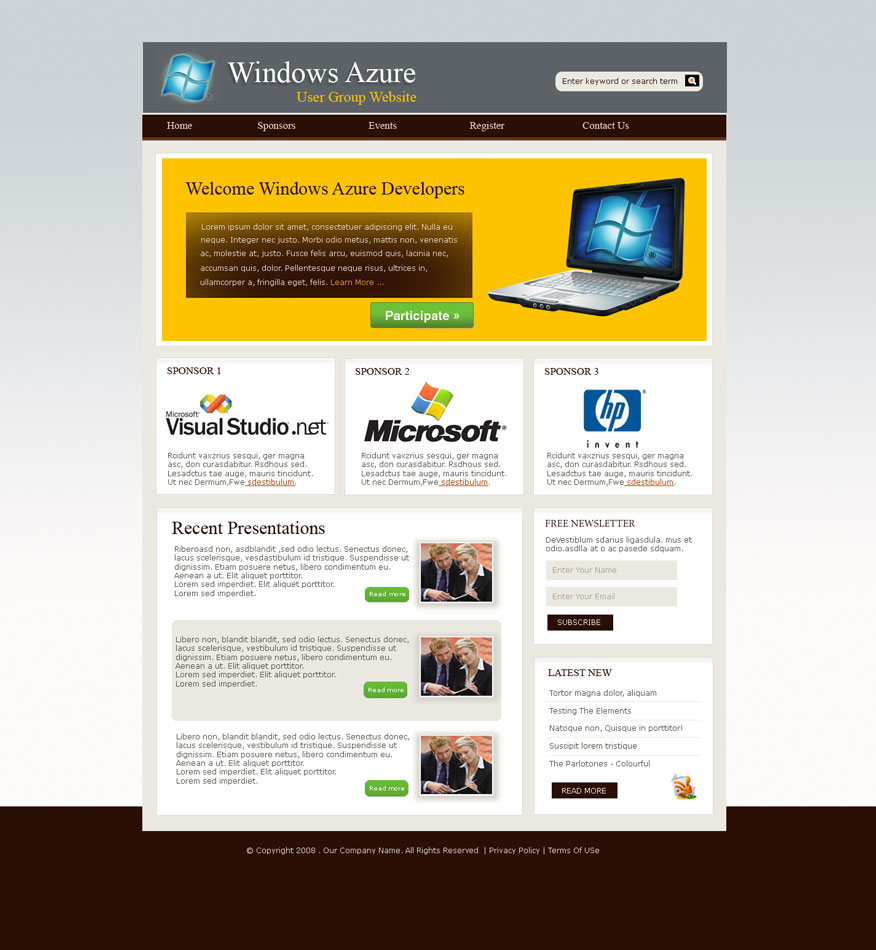 Web Page Design by logoziner - Entry No. 20 in the Web Page Design Contest Windows Azure (Cloud Computing) User Group Website.