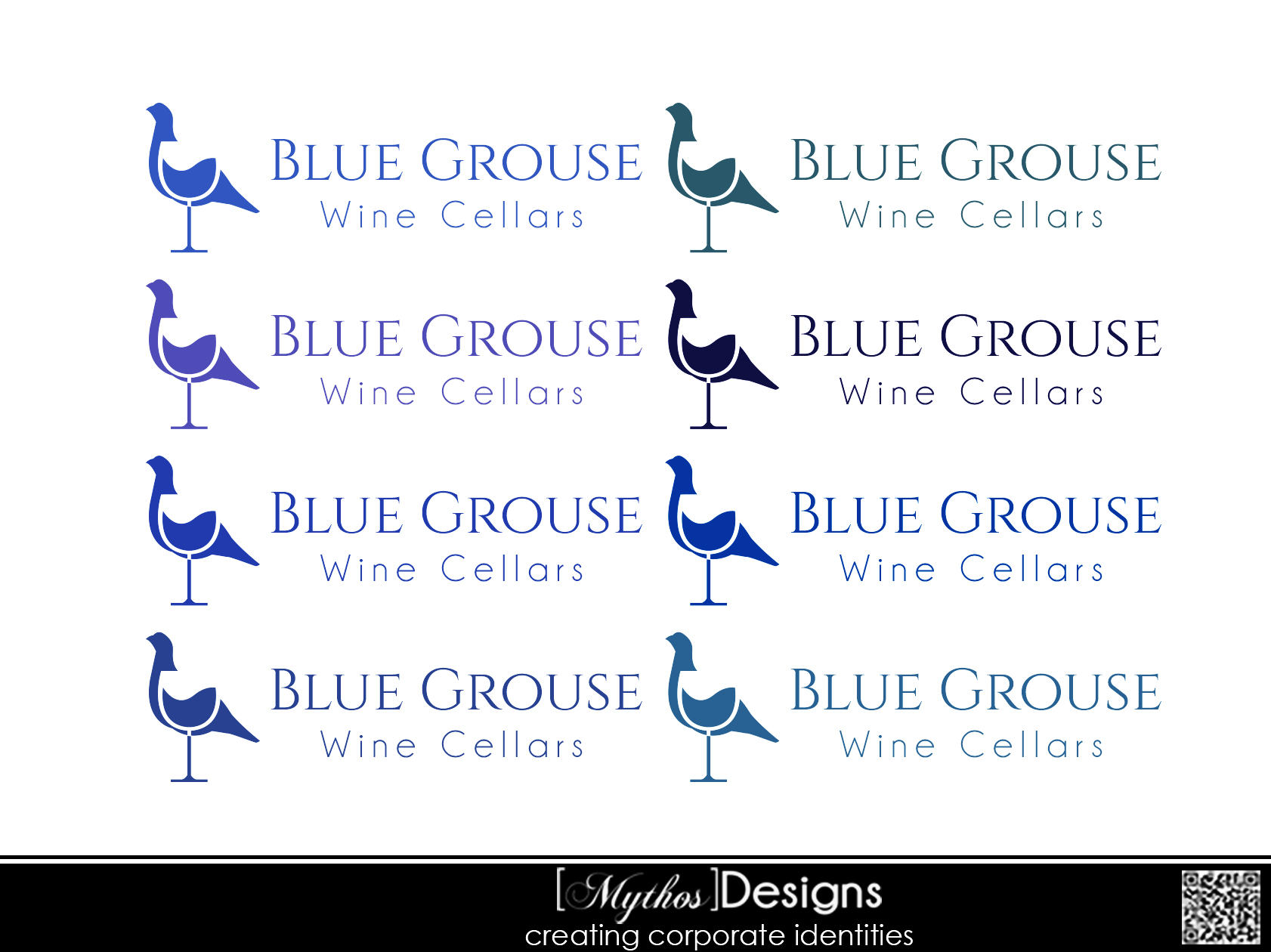 Logo Design by Mythos Designs - Entry No. 62 in the Logo Design Contest Creative Logo Design for Blue Grouse Wine Cellars.