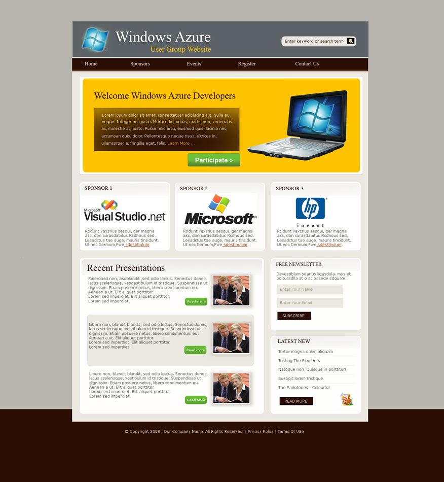 Web Page Design by logoziner - Entry No. 23 in the Web Page Design Contest Windows Azure (Cloud Computing) User Group Website.