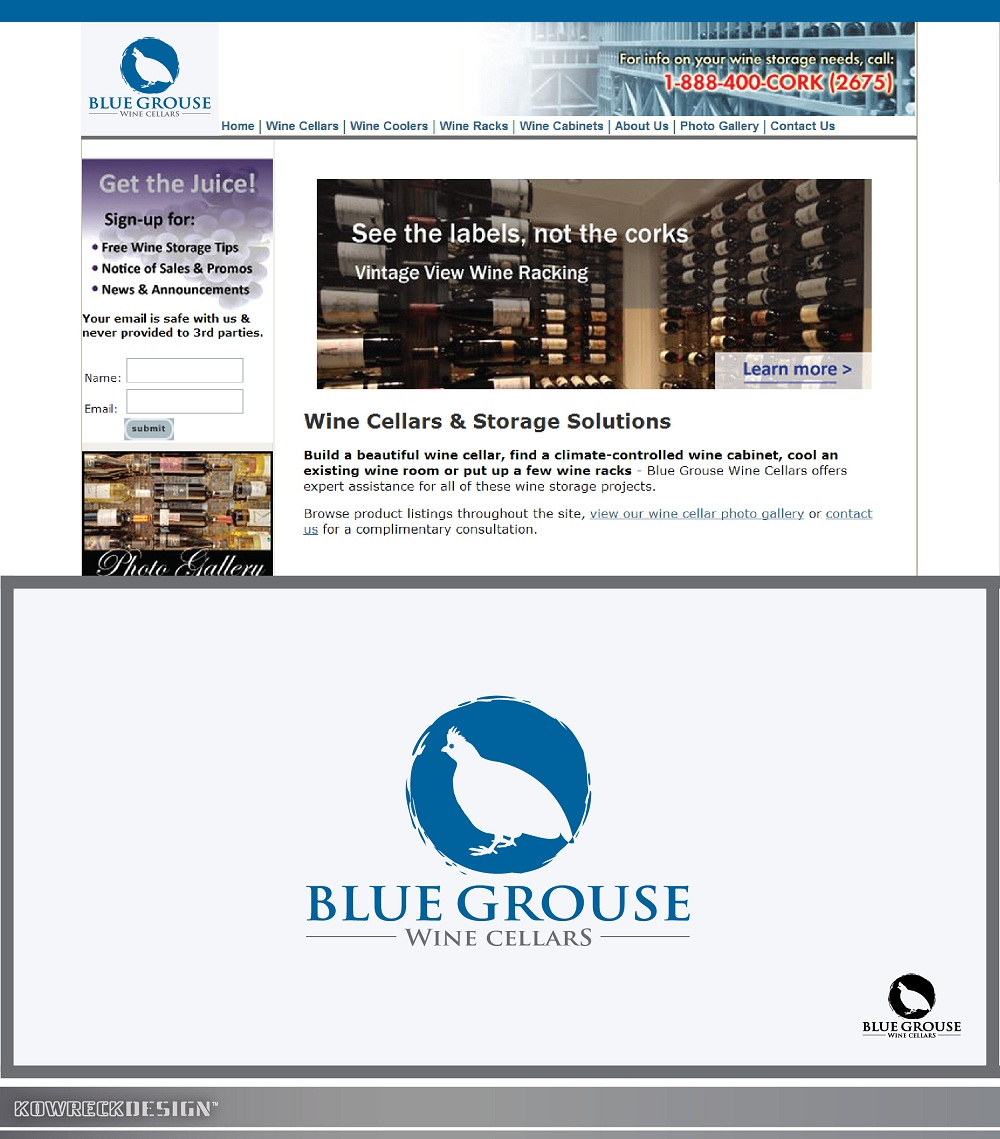 Logo Design by kowreck - Entry No. 93 in the Logo Design Contest Creative Logo Design for Blue Grouse Wine Cellars.