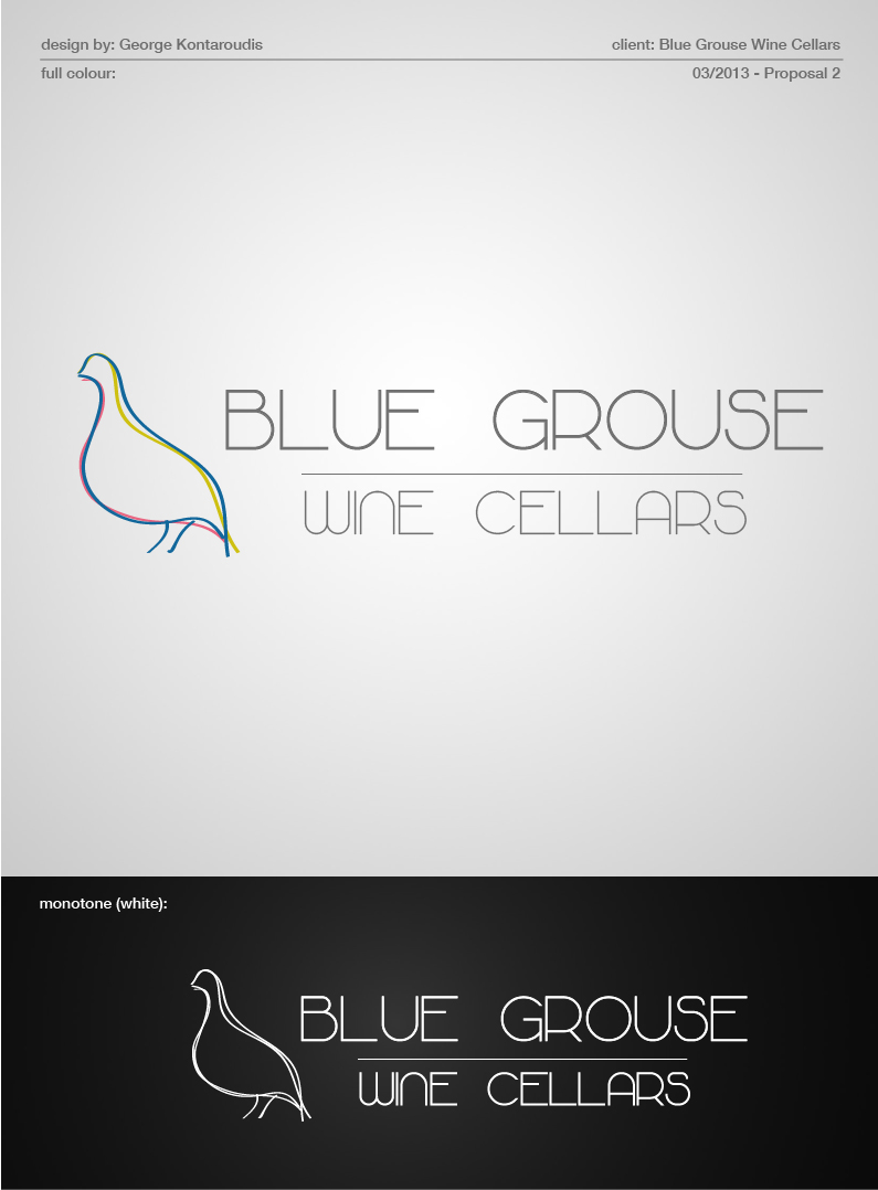 Logo Design by gkonta - Entry No. 96 in the Logo Design Contest Creative Logo Design for Blue Grouse Wine Cellars.
