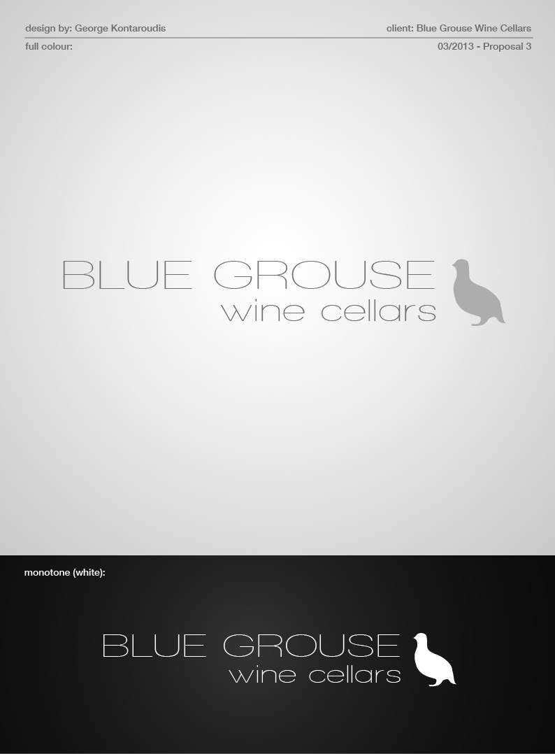 Logo Design by gkonta - Entry No. 97 in the Logo Design Contest Creative Logo Design for Blue Grouse Wine Cellars.
