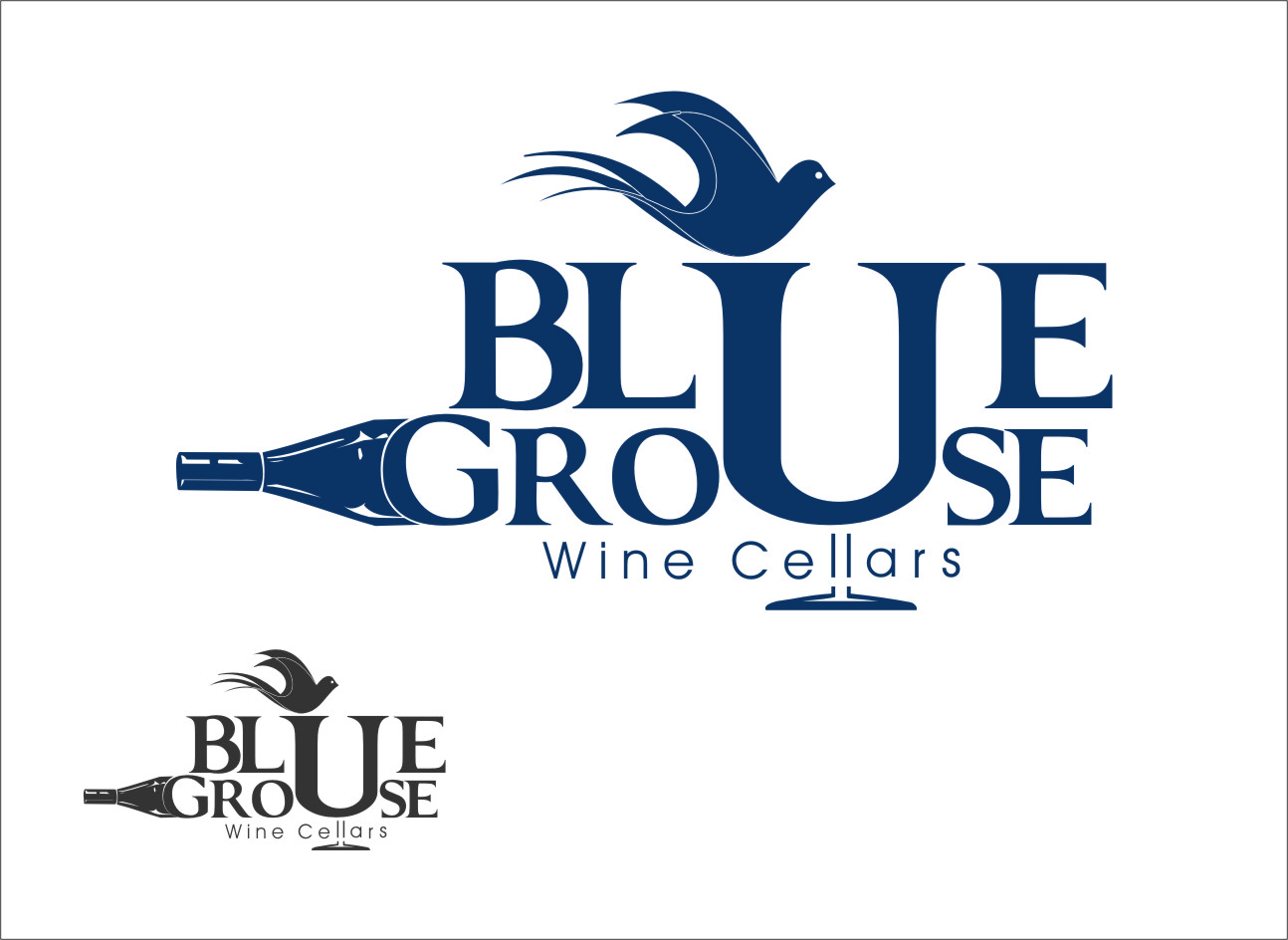 Logo Design by Ngepet_art - Entry No. 103 in the Logo Design Contest Creative Logo Design for Blue Grouse Wine Cellars.