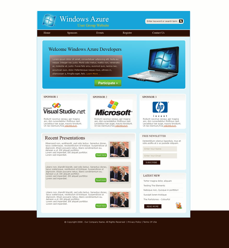 Web Page Design by logoziner - Entry No. 25 in the Web Page Design Contest Windows Azure (Cloud Computing) User Group Website.