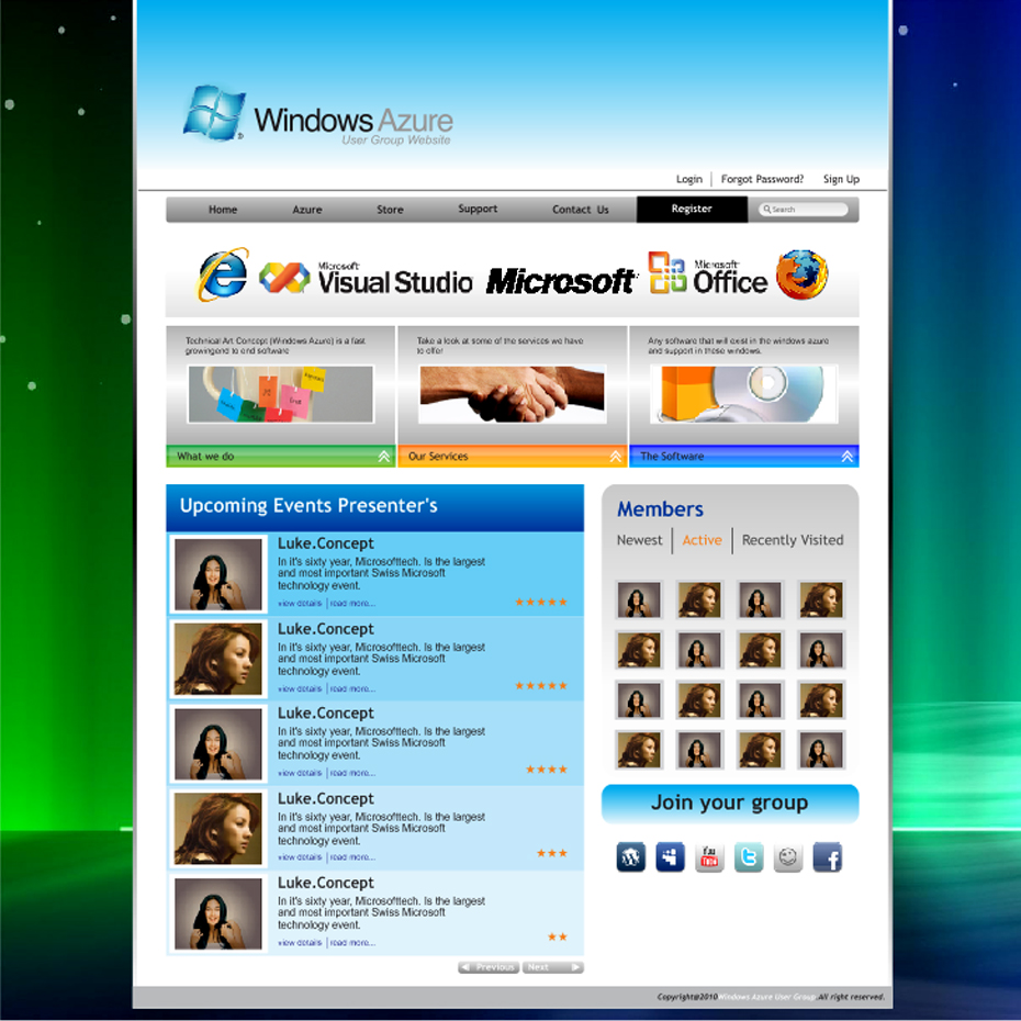 Web Page Design by LukeConcept - Entry No. 26 in the Web Page Design Contest Windows Azure (Cloud Computing) User Group Website.