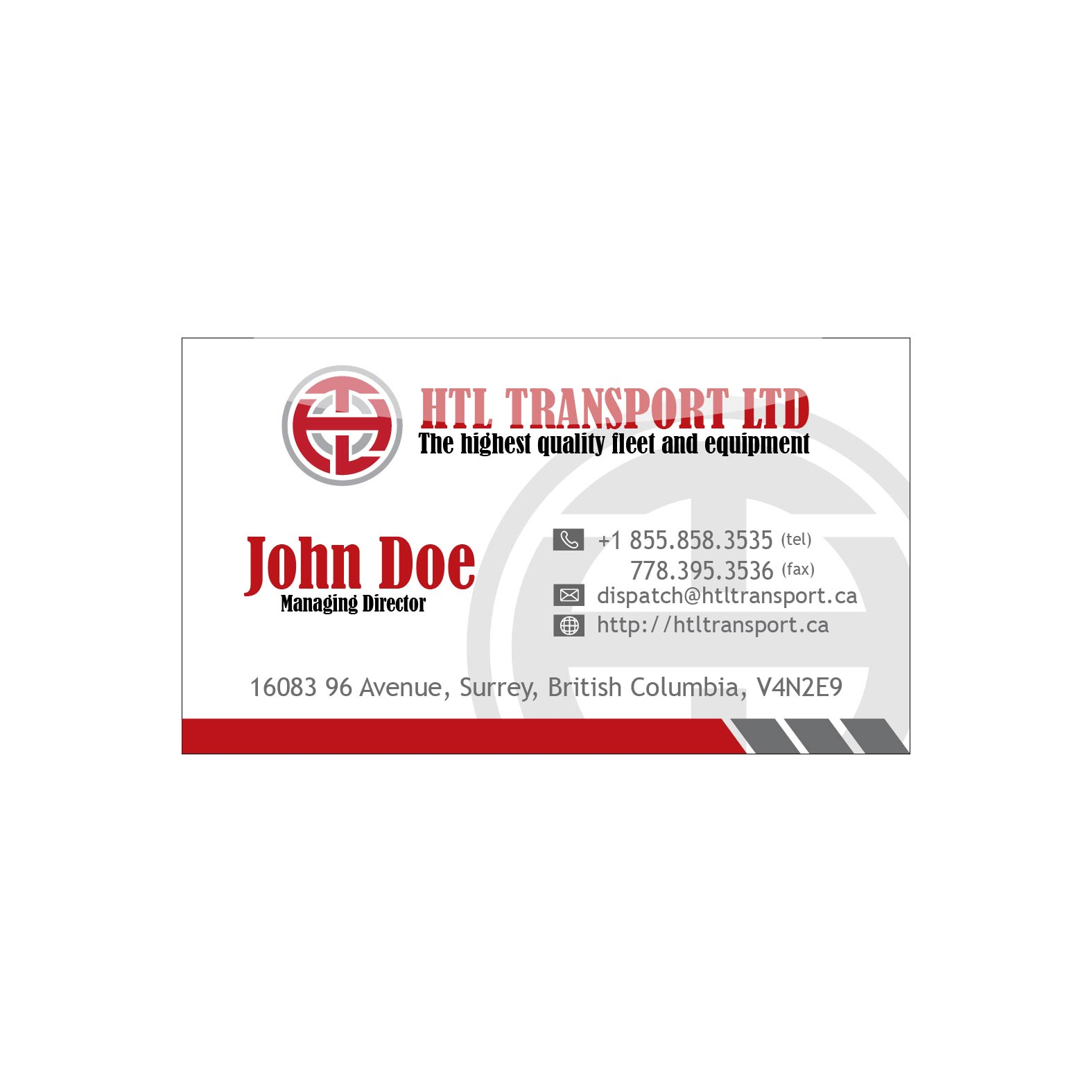 Business Card Design by lagalag - Entry No. 7 in the Business Card Design Contest Fun Business Card Design for HTL Transport LTD.