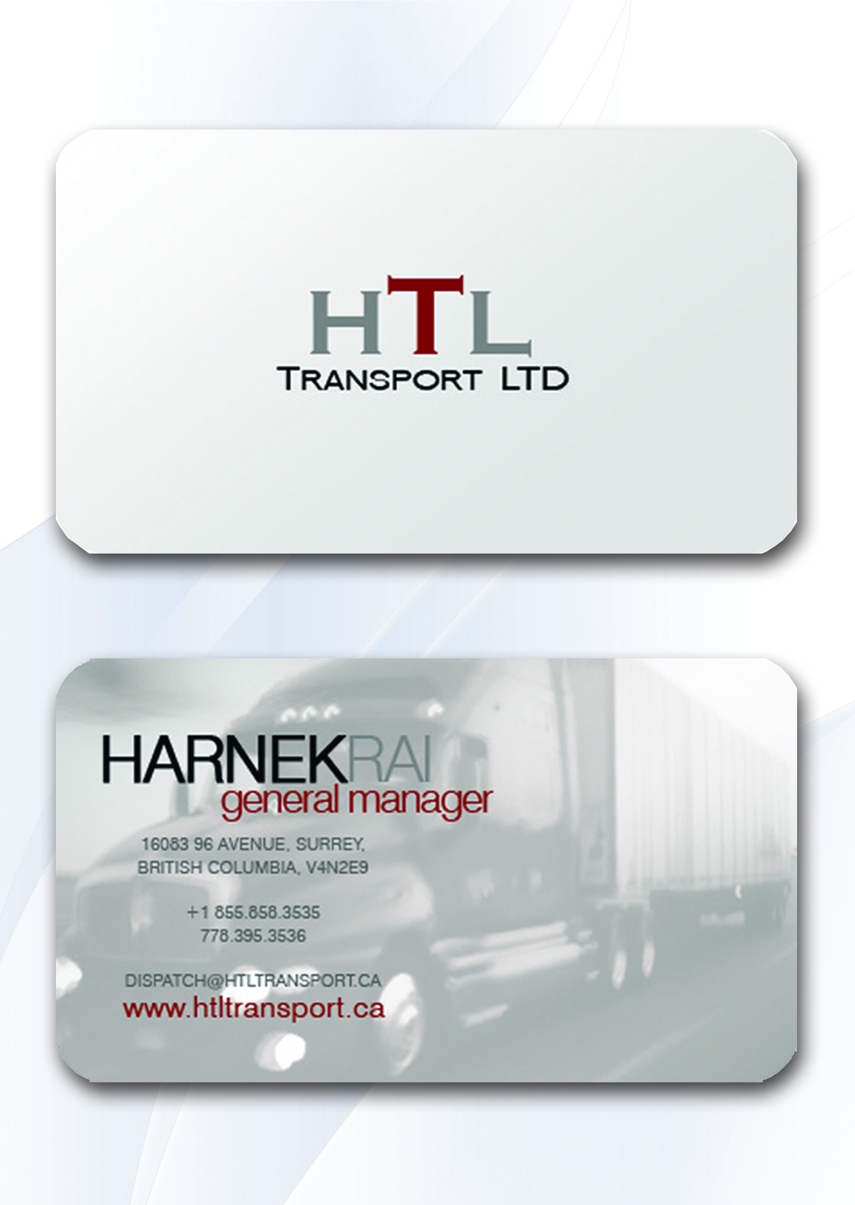 Business Card Design by Private User - Entry No. 15 in the Business Card Design Contest Fun Business Card Design for HTL Transport LTD.