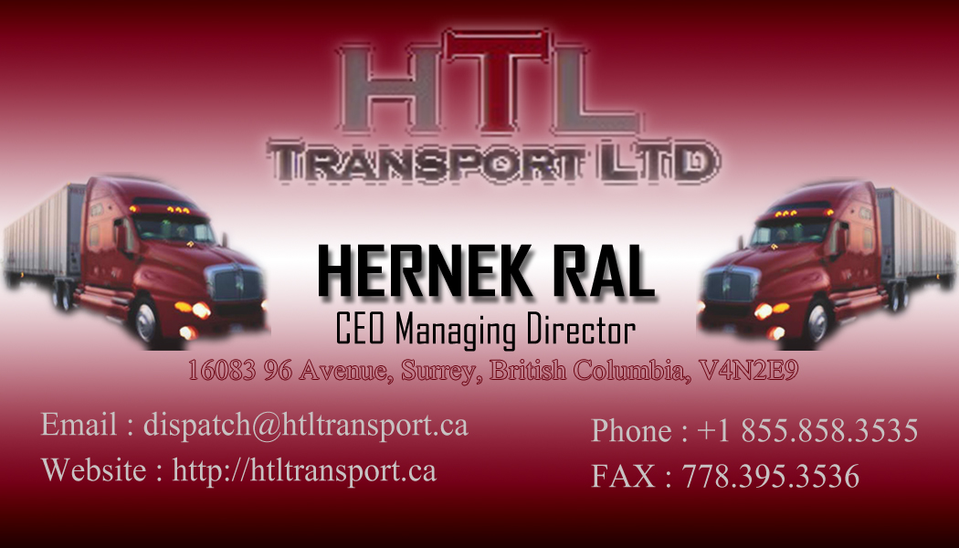 Business Card Design by Private User - Entry No. 25 in the Business Card Design Contest Fun Business Card Design for HTL Transport LTD.