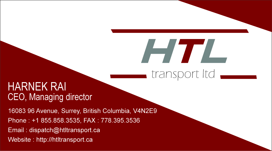 Business Card Design by Vivek Singh - Entry No. 30 in the Business Card Design Contest Fun Business Card Design for HTL Transport LTD.
