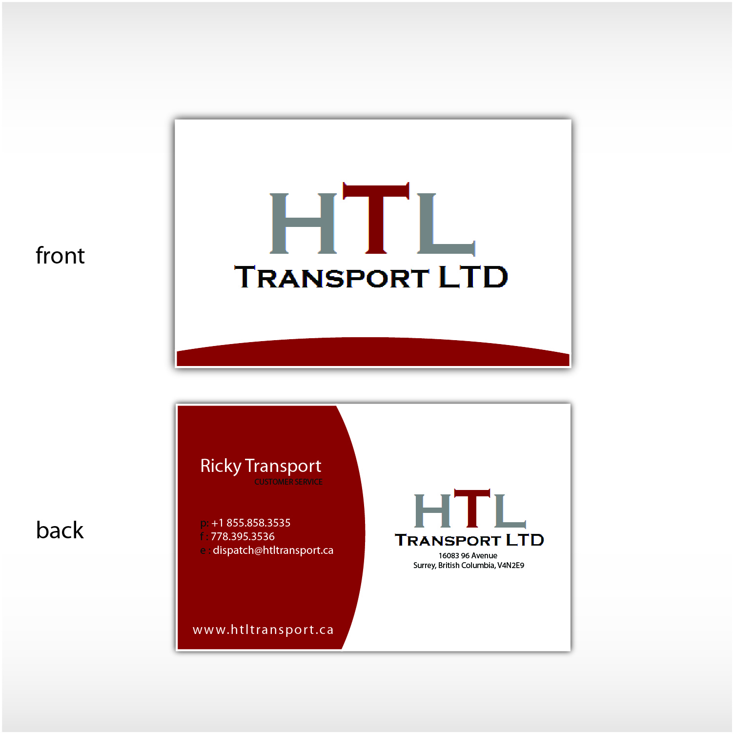 Business Card Design by Ricky Frutos - Entry No. 32 in the Business Card Design Contest Fun Business Card Design for HTL Transport LTD.