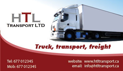 Business Card Design by Mohamed Sheikh - Entry No. 33 in the Business Card Design Contest Fun Business Card Design for HTL Transport LTD.